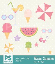 Summer Clip Art Graphics Set Digital Clip Art Bonus 2 Summer Clipart, Clip Art, Graphics, Digital, Unique Jewelry, Handmade Gifts, Etsy, Vintage, Kid Craft Gifts
