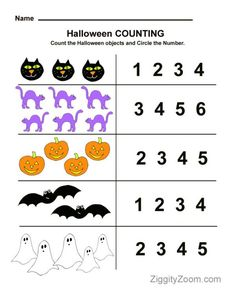 Fun educational worksheets for preschool, pre-k, kindergarten. Find Halloween printables, Christmas printables with counting, tracing and coloring activities. Halloween Math Worksheets, Kindergarten Math Worksheets, Preschool Printables, Worksheets For Kids, In Kindergarten, Addition Worksheets, Tracing Worksheets, Free Printable Worksheets, Fall Preschool