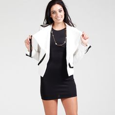 Blazer With Black Pocket Accents: white (S,M,L)
