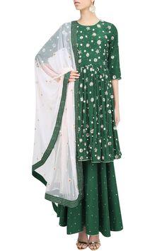 Emerald green embroidered bootis kurta and garara pants set available only at Pernia's Pop Up Shop.