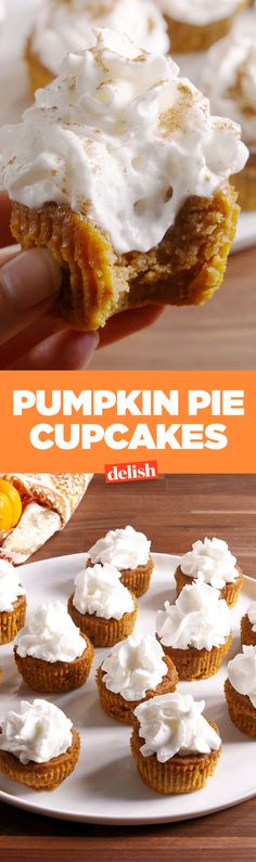 Pumpkin Pie Cupcakes are the most adorable mini Thanksgiving dessert. Get the recipe on Delish.com.