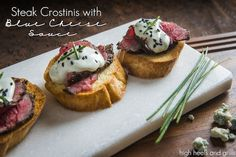 Steak Crostinis with Blue Cheese Sauce. #appetizer #christmas #beef http://www.highheelsandgrills.com/2014/11/steak-crostinis-with-blue-cheese-sauce.html