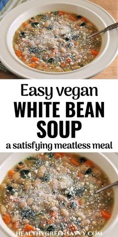 This delicious vegan white bean soup recipe is packed with protein and flavor. This simple recipe for white bean soup will become a favorite meatless meal. It's not only satisfying and easy to make, it makes eating healthy super-affordable! #vegan #vegetarian #souprecipe #meatlessmeal #soup