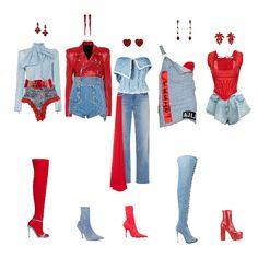 Fashion set Red denim created via Kpop Fashion Outfits, Stage Outfits, Edgy Outfits, Korean Outfits, Retro Outfits, Mode Outfits, Dance Outfits, Denim Fashion, Mode Kpop