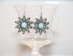 Turquoise earrings for women, earrings snowflake, earrings flowers, women's jewelry, earrings as a gift, dangle earrings