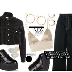 A fashion look created by MissKouture featuring Women's Platform Oxford Shoes, Earring, Moto hacked off cropped denim jacket, Article. Oxford Platform, Oxford Shoes, Virtual Fashion, Cropped Denim Jacket, Fashion Looks, Street Style, Jackets, Shopping, Design