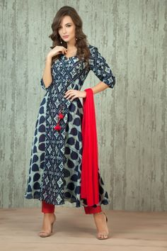 W16-15 - Chanderi cotton indigo kurta with trouser and dupatta