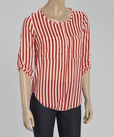 Red Vertical Stripe Scoop Neck Top - Women by jon & anna #zulily