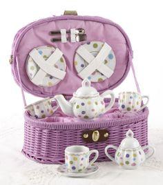 NIB Posh Purple Child's 'Gumdrops' Tea Set for Two by Delton in Wicker Basket