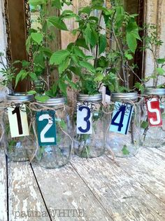canning jars accented with castoff license plate number snippets