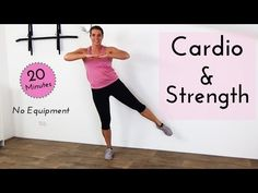 20 Minute Fat Burning Cardio and Strength Workout at Home – No Equipment Strength Workout At Home, At Home Workouts, Cardio Workouts, Fitness Workout For Women, Fitness Tips, Burn Calories Fast, Fat Burning Cardio, Positive Thoughts, Hiit