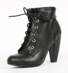 Black Faux Leather Lace Up Ankle Boots /Steampunk/Vintage Style [Senna-01] - $44.99 : Uturn Utopia, Retro footwear, Rockabilly Shoes, Vintage Inspired Clothing, jewelry, Steampunk