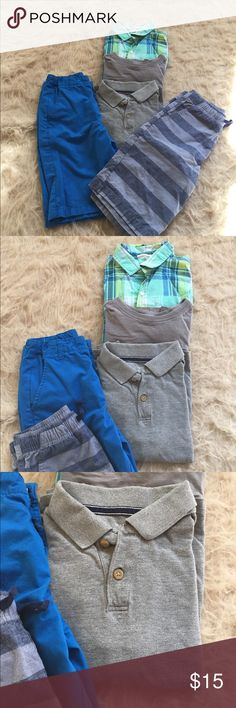Bundle of 5 items - kids clothing Offering 2 shorts from Crazy 8. One is solid blue and the other blue and grey striped. Also 3 tops. One is blue/ green collared shirt, second is a grey T-shirt with front top pocket and third is a grey collared t shirt. For boys 7-8 Years crazy 8 Shirts & Tops