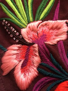 Hibiscus embroidery detail from Matthew Williamson collection. The hibiscus flower, seen both in Matthew's travels and plucked for Marie Helvin's hair in Bailey's photography, is the highlight of every look. Tambour Embroidery, Couture Embroidery, Embroidery Fabric, Embroidery Fashion, Cross Stitch Embroidery, Embroidery Patterns, Hibiscus, Broderie Simple, Lesage