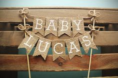 Personalized Name Baby Shower Cake Topper, Baby Shower Cake Topper, Rustic Baby…