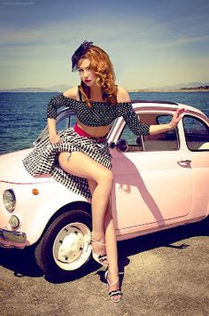 Pin Up by Marianna Anagnostopoulou - Vintage Classic Cars and Girls