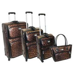 """Four piece luggage set with a push button locking telescoping handle system and gusseted front.   Product: Small, medium, large suitcase and travel toteConstruction Material: PolyurethaneColor: BrownFeatures:  Push button locking telescopic handle systemEVA expandable designZippered gusseted front pocketHeavy duty signature zipper pullsTravel tote can hold laptopDimensions: Small: 21"""" H x 14"""" W x 9"""" D  Medium: 25"""" H x 16"""" W x 10"""" D  Large: 29"""" x 18"""" W x 11"""" DTravel Tote: 15"""" H x 18"""" W x 5"""" D"""