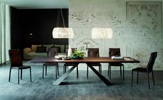 Stainless steel and oak wood burned table Eliot Wood by Cattelan Italia spa