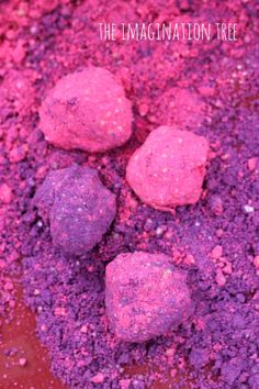 Home made coloured moon sand recipe:  4 cups play sand 2 cup corn flour (corn starch in US) 1 cup water 2 tbsp coloured powder paint (we divided our plain mix into two so we could make both pink and purple) huge sprinkling of glitter