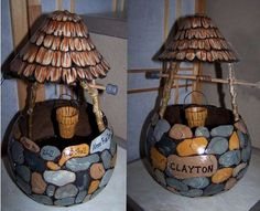 A friend commissioned Kathy Kopjak of Arizona to make this gourd wishing well.