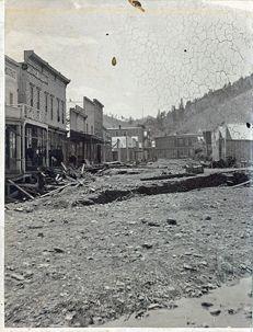 Aftermath of 1883 flood in Deadwood. Photo courtesy of Adams Museum, Deadwood, SD