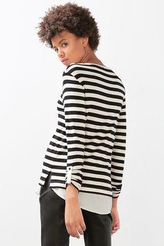 Esprit / Stribet shirt i lagdelt look med stretch