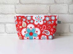 Red/Teal Floral Make Up Bag // Wash Bag // Toiletry by ollieandroo