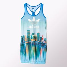 Adidas Miami Print Tank Dress ($30) ❤ liked on Polyvore featuring dresses, tops, shirts, new york print, jersey tank dress, keyhole dress, ruched tank dress, print dress and jersey dress