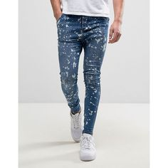 """""Super-skinny jeans by SikSilk, Power stretch denim for comfort and fit, Blue wash, Splatter design, Zip cuffs, Super-skinny fit.  cut closest to the body, Ma…"