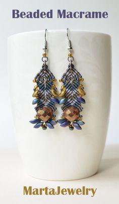 Beaded macrame earrings by MartaJewelry