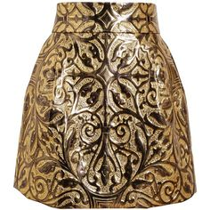DOLCE & GABBANA Metallic Embossed Brocade Skirt ($1,100) ❤ liked on Polyvore featuring skirts, bottoms, saias, print skirt, patterned skirts, brown high waisted skirt, structured skirt and textured skirt