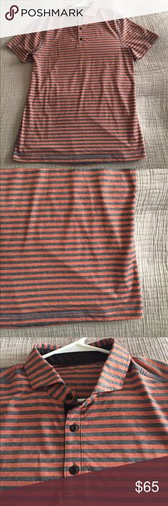 Men's lululemon Polo Men's striped lululemon polo in orange & gray/blue stripes. Made of sweat wicking material, has three buttons, and great to wear with shorts. Check out pictures lululemon athletica Shirts Polos