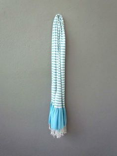 Beautiful sea-colored striped scarf from redinfred.