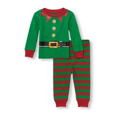 Image for product Unisex Baby And Toddler Long Sleeve Elf Suit Top And Striped Pants PJ Set