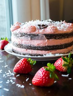 Naked Chocolate Cake with Strawberry Buttercream and Coconut Flakes