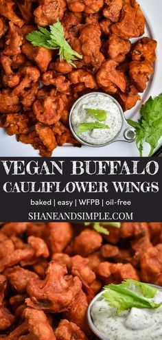 These Vegan Buffalo Cauliflower Wings are amazing! Soft, crispy, and spicy all at once. Healthy, quick, easy, and as always, no oil. #WFPBrecipe #VeganRecipe #withoutoil #plantbased Vegan Appetizers, Easy Appetizer Recipes, Vegetarian Recipes Easy, Vegan Breakfast Recipes, Vegan Snacks, Vegan Dinners, Baked Buffalo Cauliflower, Cauliflower Wings, Cauliflower Mushroom