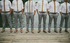 Habit garçons d'honneurs gris et orange