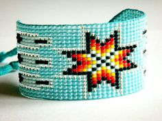 Native American style seed bead bracelet with star by ArtiumStudia
