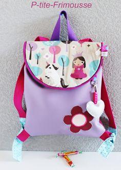 """Sac à dos thème """"Princesse"""" en simili lilas et prune doublé coton , pour enfant…"""