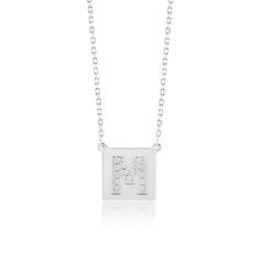 Made Simply Boutique's Square Necklace in White Gold, Letter M