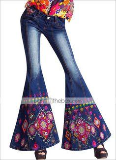 mj®: 2014 novo vento nacional paliçada yi quente bordado cintura baixa classe jeans skinny longa ampla pernas sensuais femininas - BRL R$ 347,97