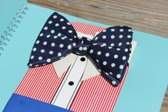 Vintage Deadstock Clip on Navy Blue Polka Dot Bow Tie with Blue Hankie NOS / Novelty / Vintage Groom