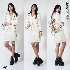 #EstiloMvd Vestido. Prendas color blanco: un buen aliado ésta temporada. Daniel Cassin Trench y Mochila Parisien, Buzo Spy, Botas Venet y Pulseras Spirale