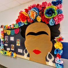 # daycare bulletin boards Spanish Bulletin Board - Frida Kahlo art and culture lesson Spanish Bulletin Boards, Art Bulletin Boards, History Bulletin Boards, Middle School Art, Art School, School Today, High School, Art Classroom Decor, Primary Classroom Displays