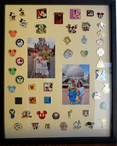 Disney Pin Trading.  Purchased 50 pins on Ebay for $35 before our vacation. Each child was given 25 pins to trade. My son decided to pick a theme - Mickey Mouse, while my daughter traded for whatever caught her eye.  When we came back I decided to frame the pins along with some pictures of us on our vacation.