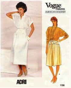 Vogue 1150 Misses' Top & Skirt Size 8 Bust 31 Designer: Adri Vintage Patterns, Vintage Sewing, Retro Vintage, Vogue Patterns, Sewing Patterns, 80s Fashion, Vintage Fashion, Princess Caroline, Chanel