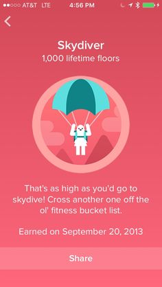 FitBit Lifetime Climb Badges Skydiver: 1,000 Floors