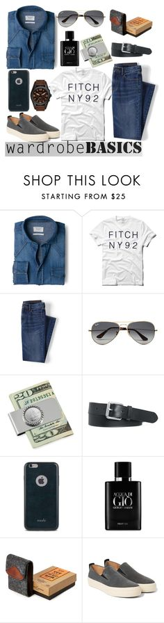 """""""Wardrobe Basics"""" by clotheshawg ❤ liked on Polyvore featuring MANGO, Abercrombie & Fitch, Lands' End, Ray-Ban, American Coin Treasures, Polo Ralph Lauren, Moshi, Giorgio Armani, River Island and Dries Van Noten"""
