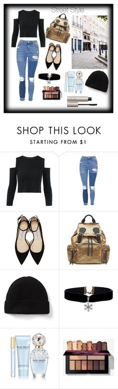 """""""street style #streetstyle"""" by ranyaket ❤ liked on Polyvore featuring Dauphine, Topshop, Jimmy Choo, Burberry, Marc Jacobs, Ilia, StreetStyle and everyday"""