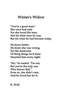I know this is a poem not related to Marvel... But is anyone else thinking of WinterWidow here?